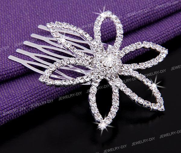 Flower Rhinestone Crystal Jewelry Bridal Hair Comb Pin 2.3