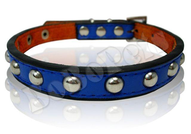 Studded leather Pet Dog Collar black blue brown S M L