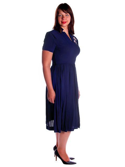 Vintage Navy Blue Rayon Dress w Pink Appliques 1940s