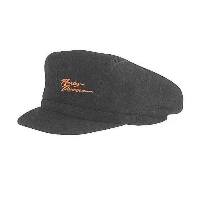 HARLEY DAVIDSON BLACK BIKER CAP WITH ORANGE SCRIPT   97823 10VW