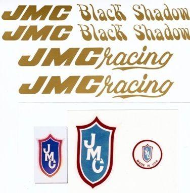 Gold JMC® Black Shadow Vinyl BMX Complete Decal Set New